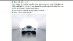 Il Tweet di Cosworth che svela la potenza della Aston Martin Valkyrie