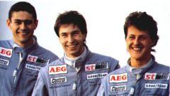 Il vecchio Junior Team Mercedes con Karl Wendlinger, Heinz Harald Frentzen e Michael Schumacher