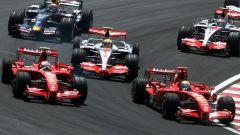 Il via del GP del Brasile 2007 a Interlagos, con Massa che precede Raikkonen, Alonso e Hamiton