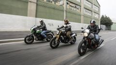 In sella a Kawasaki Z900 RS Cafe, Ducati Scrambler 1100, Guzzi V7 III Racer