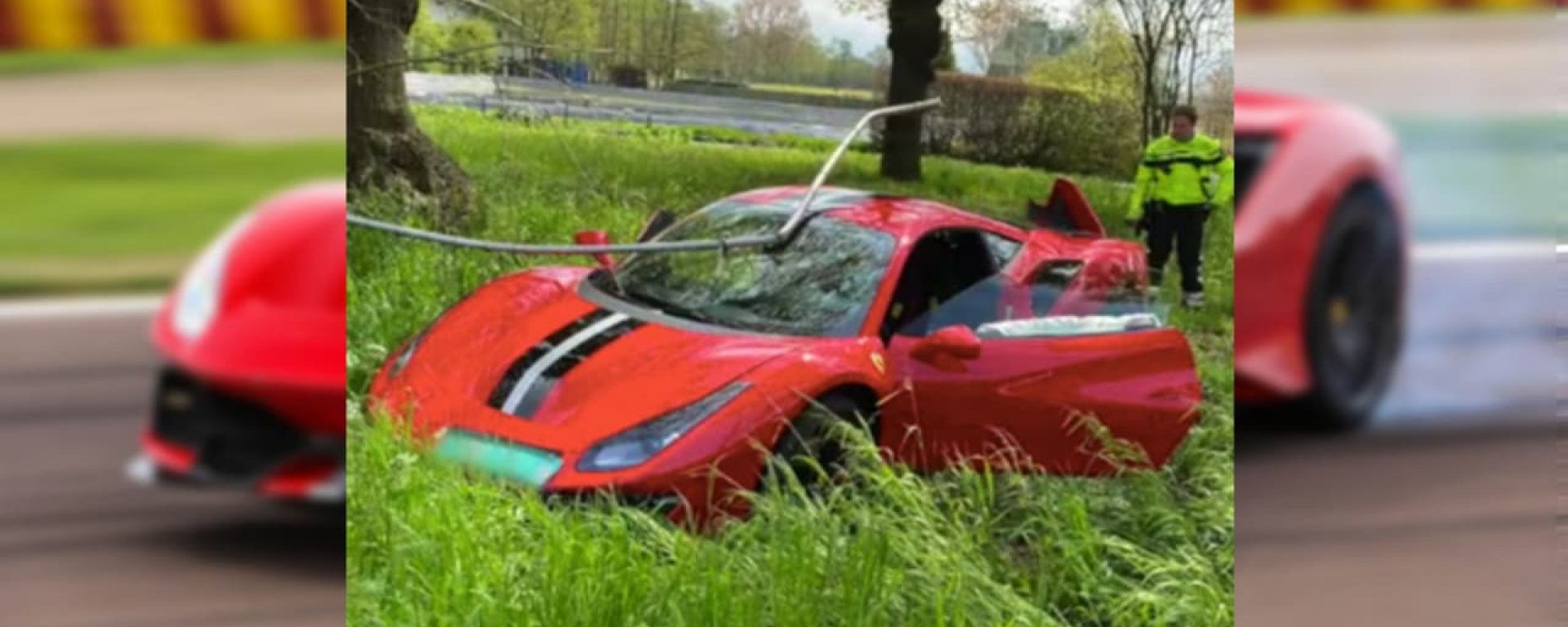Incidente Ferrari 488 Pista: la macchina finita fuori strada