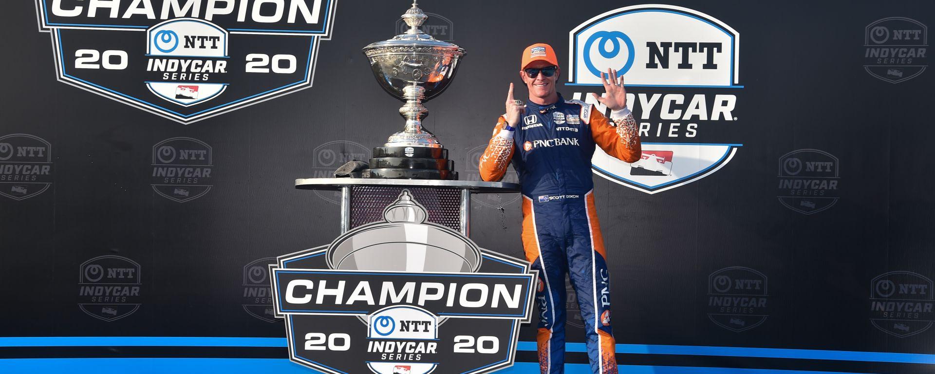 IndyCar 2020, St. Petersburg: Scott Dixon (Chip Ganassi Racing) festeggia sul podio