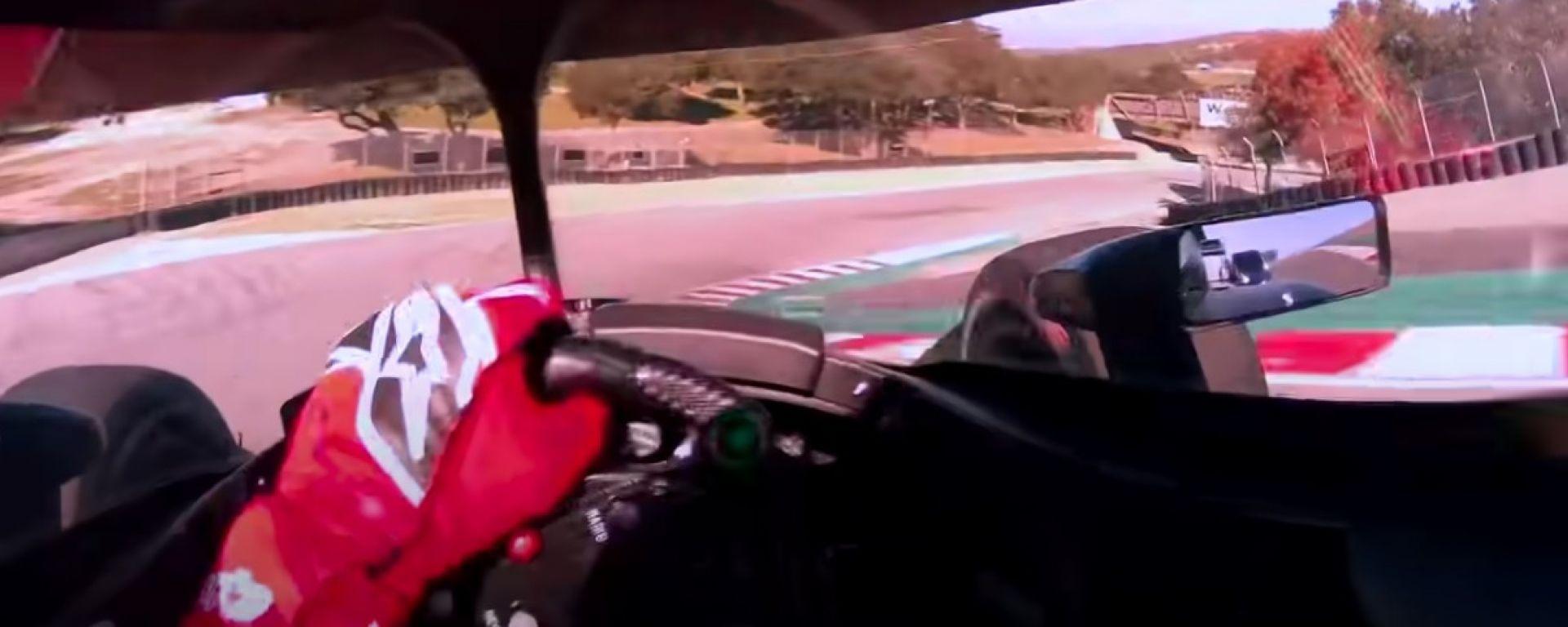 IndyCar 2021: il cavatappi di Laguna Seca visto dal casco di Romain Grosjean