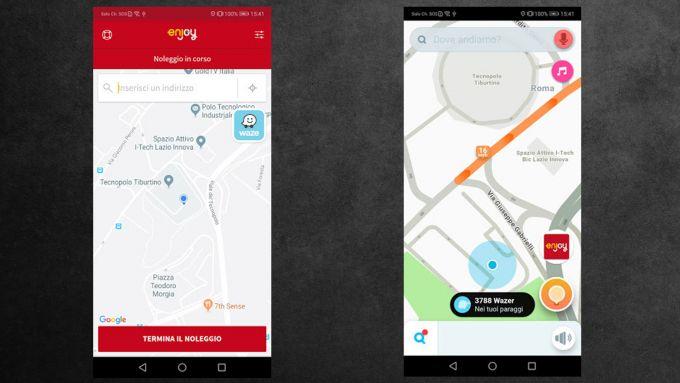Integrazioni tra le app di Enjoy e Waze