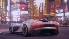 Jaguar Vision Gran Turismo nello scenario di Tokyo del gioco