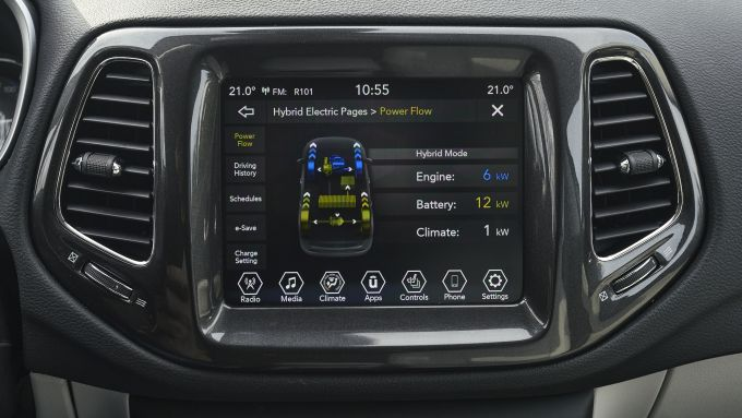 Jeep Compass 4xe plug-in hybrid, display multifunzione