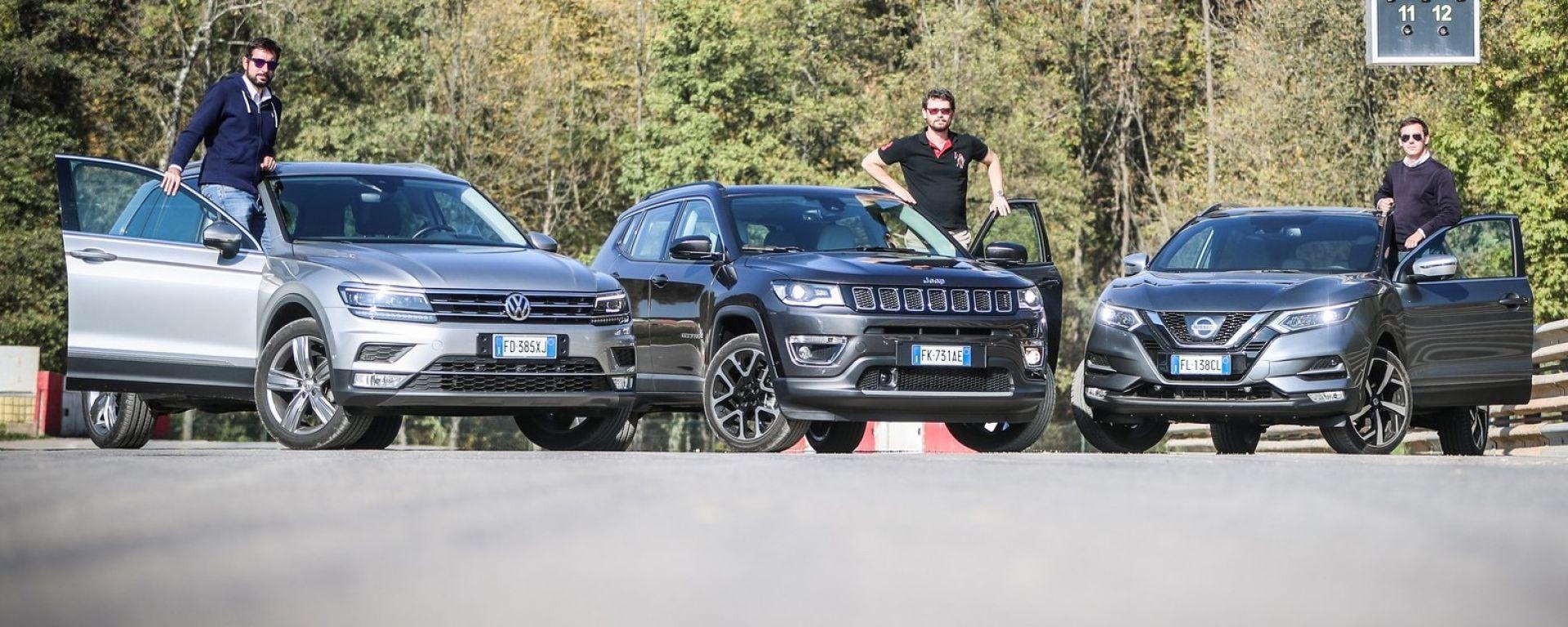 Jeep Compass vs Nissan Qashqai vs Volkswagen Tiguan: la prova alla Maggiora Offroad Arena