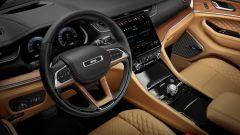 Jeep Grand Cherokee 2021, interni: volante in pelle con inserti in legno
