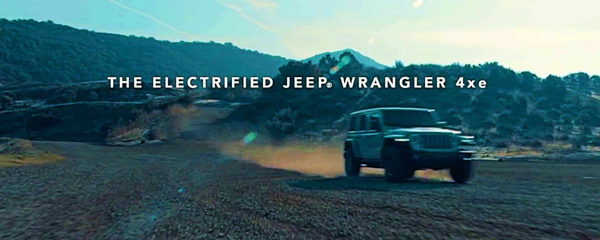 Jeep Wrangler 4xe, un fotogramma del video teaser