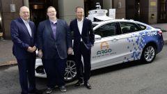 Jim Hackett (presidente Ford), Bryan Salesky (CEO Argo AI) ed Herbert Diess (CEO Volkswagen)