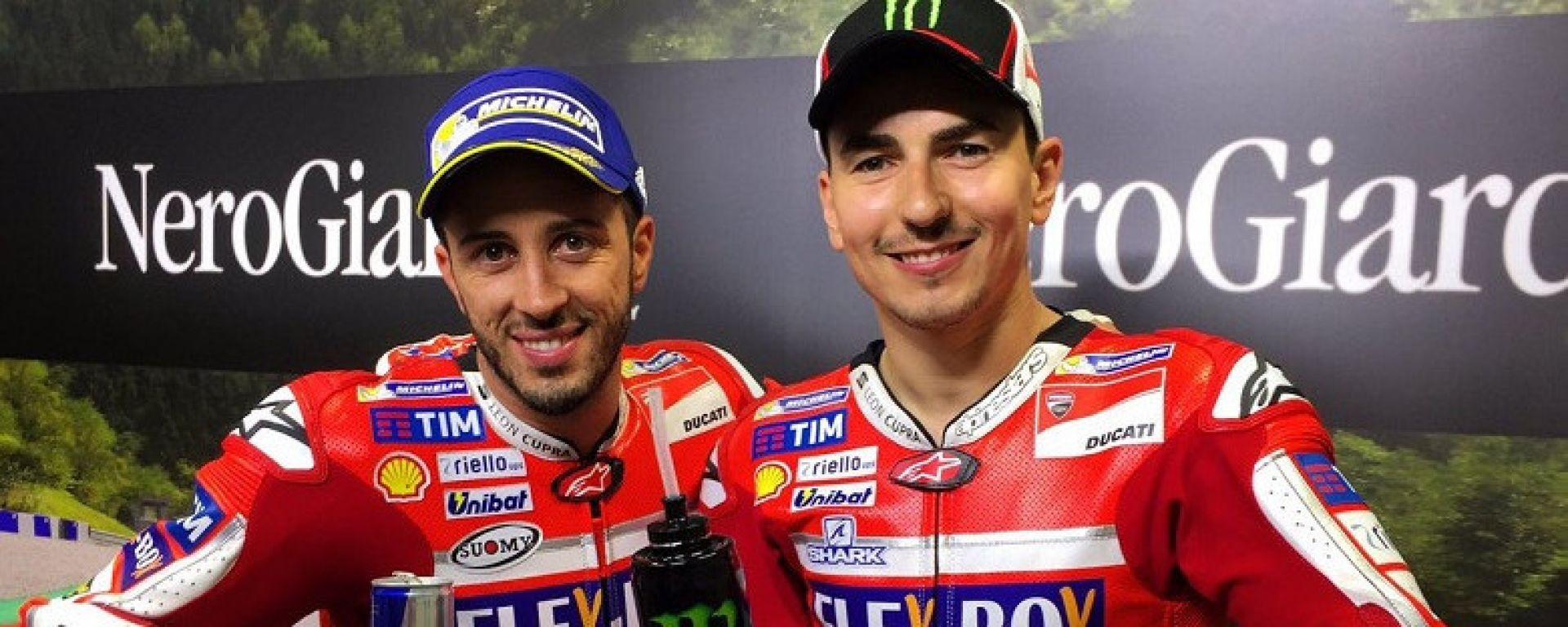 Jorge Lorenzo e Andrea Dovizioso nel 2018, quando erano compagni di team in Ducati