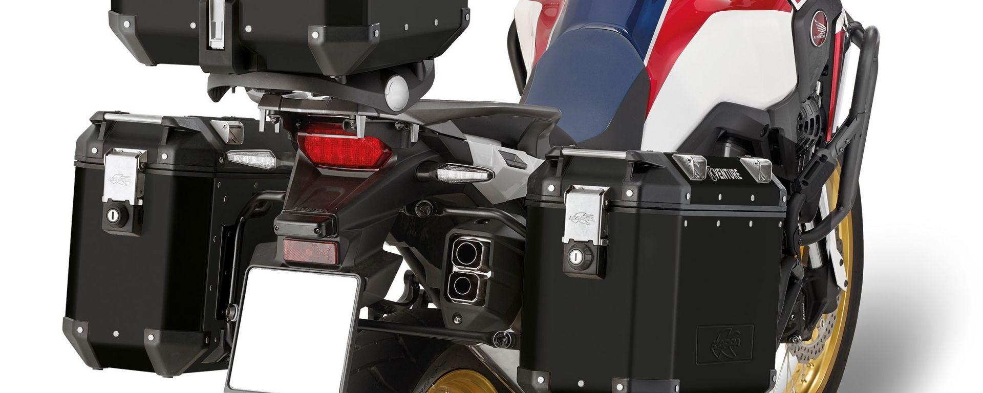 Kappa KVenture Black Line montate su Honda Africa Twin
