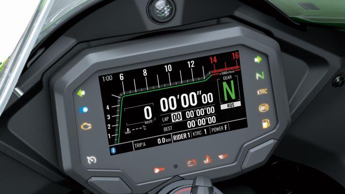Kawasaki Ninja ZX-10R 2021: la strumentazione TFT racing con connessione Bluetooth