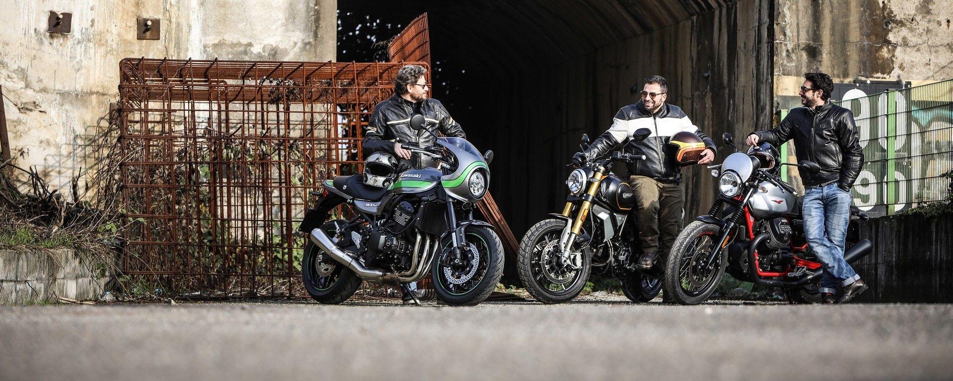 Kawasaki Z900 RS Cafe, Ducati Scrambler 1100, Guzzi V7 III Racer a confronto