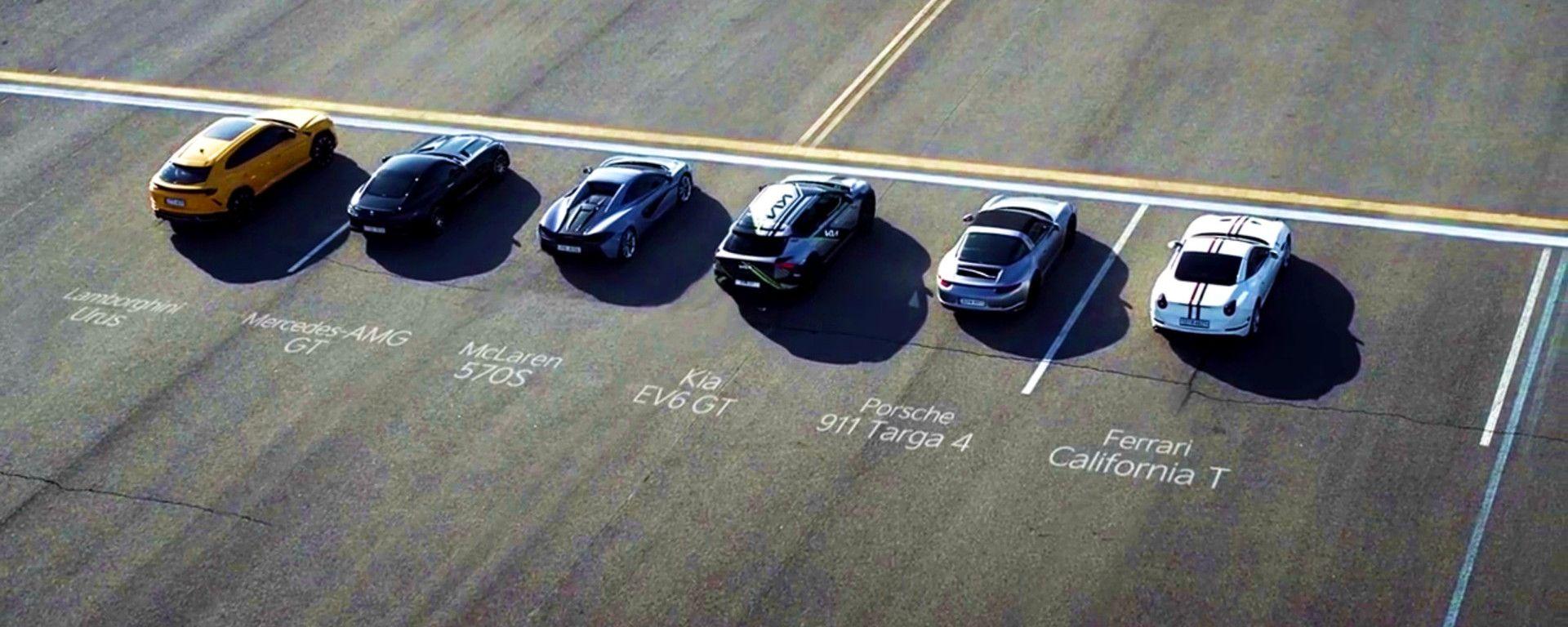 Kia EV6 GT vs Lamborghini Urus,Ferrari California T, Porsche 911 Carrera 4Targa, Mercedes-AMG GT e McLaren 570S