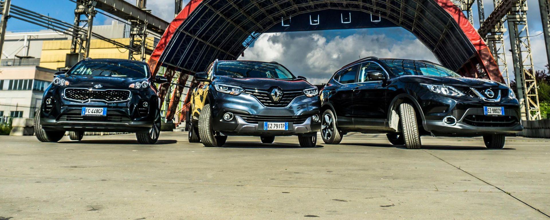 Kia Sportage 2016 vs Renault Kadjar vs Nissan Qashqai: il video