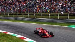 Kimi Raikkonen nel corso delle qualifiche del GP d'Italia 2018 a Monza con la Ferrari