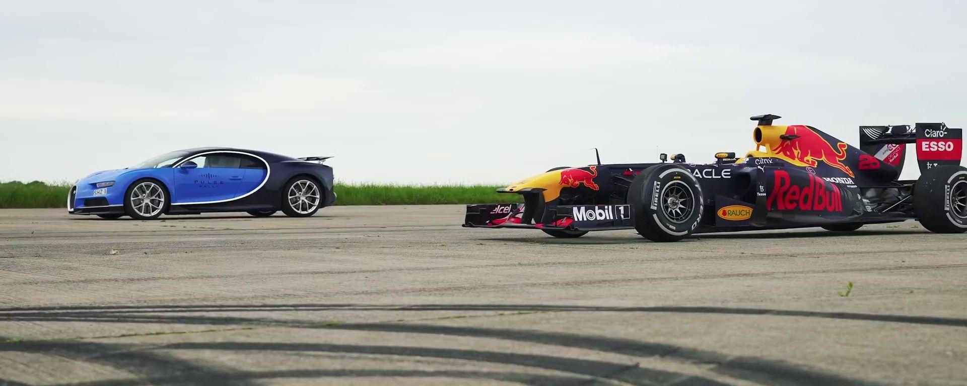 La Bugatti Chiron pronta a sfidare la Red Bull F1 in una drag race