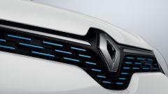 La calandra con finiture blu di Renault Twingo Z.E. 2020