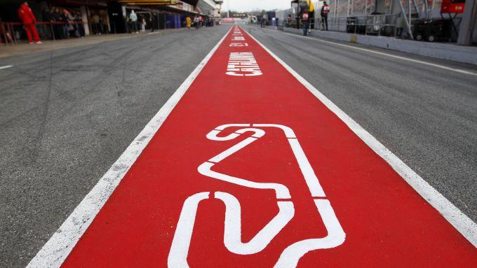 La corsia dei box del Circuit de Barcelona-Catalunya