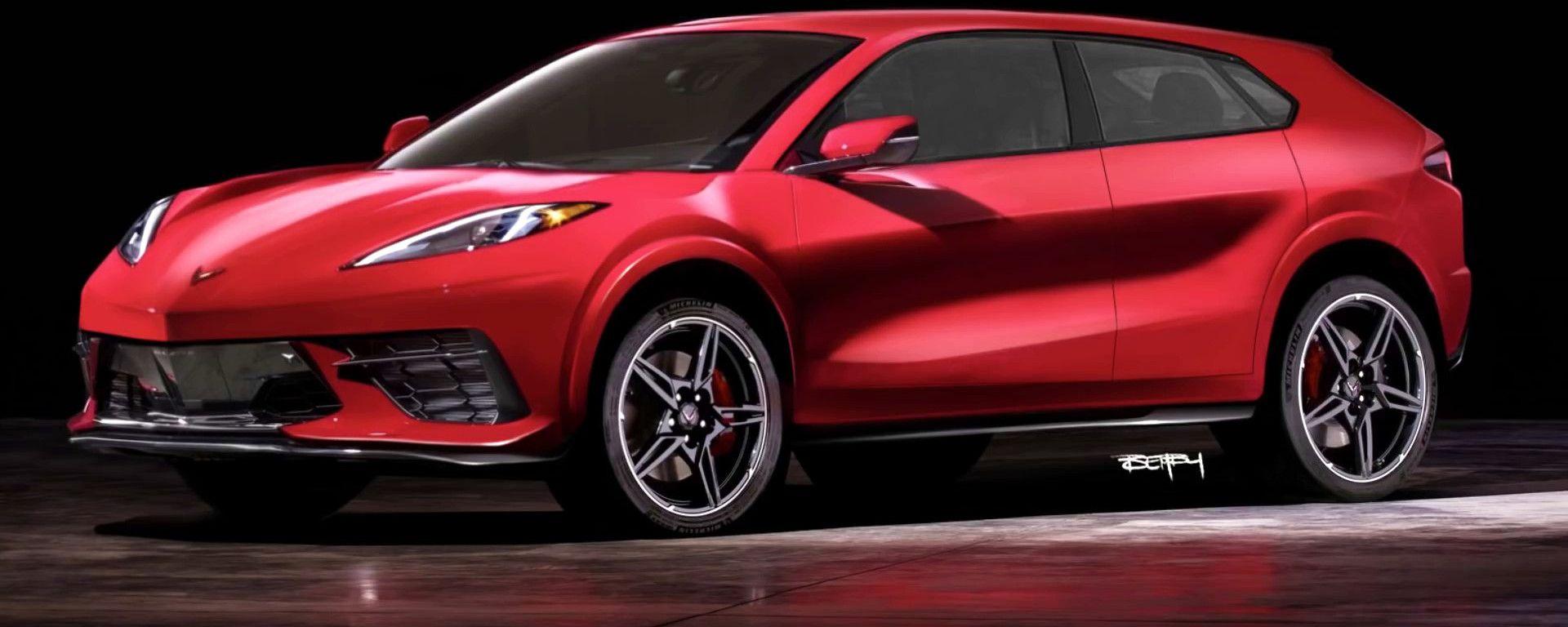 La Corvette SUV EV in un rendering di The Sketch Monkey