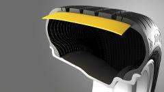 La costruzione sport-lock offre allo pneumatico - a detta di Dunlop - un comportamento eccezionale sull'asciutto. La robusta cin