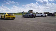 La Drag race: Porsche 911 Carrera 4S, Audi R8 Performance, Nissan GT-R Nismo e BMW M850i