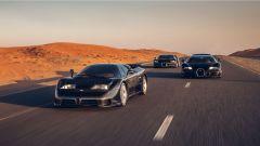 Bugatti EB110, Veyron e Chiron: le tre supercar a Dubai. Foto