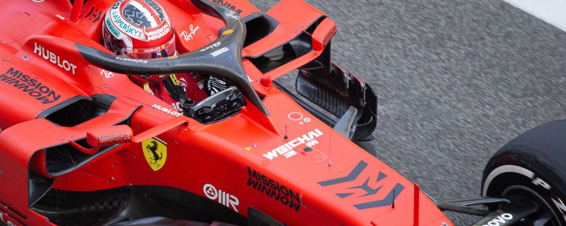 La Ferrari di Charles Leclerc durante i test di Abu Dhabi 2019