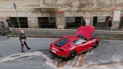 La Ferrari di Marchetti, la scena dell'incidente vista dall'alto