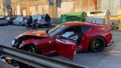 La Ferrari di Marchetti, l'auto ha colpito il guard rail