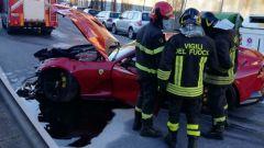 La Ferrari di Marchetti, sul luogo dell'incidente sono intervenuti anche i Vigili del Fuoco