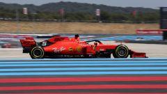 La Ferrari SF90 di Sebastian Vettel nelle prove libere del Gp Francia
