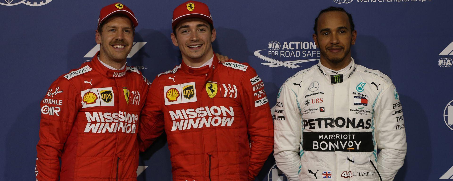 La foto dei primi tre delle qualifiche del GP Bahrain: Leclerc, Vettel e Hamilton