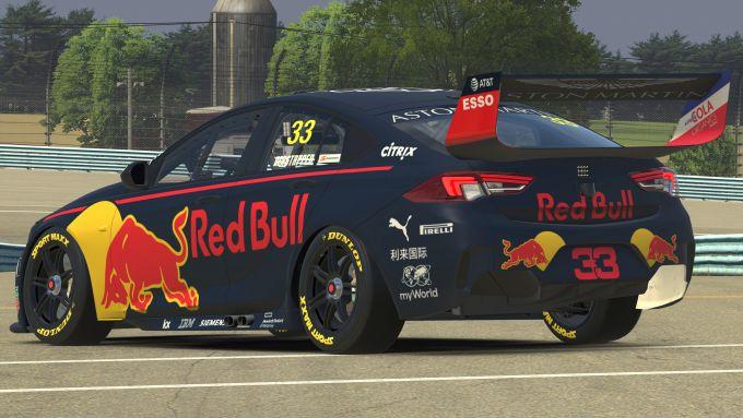 La Holden Commodore guidata da Max Verstappen su iRacing, vista posteriore