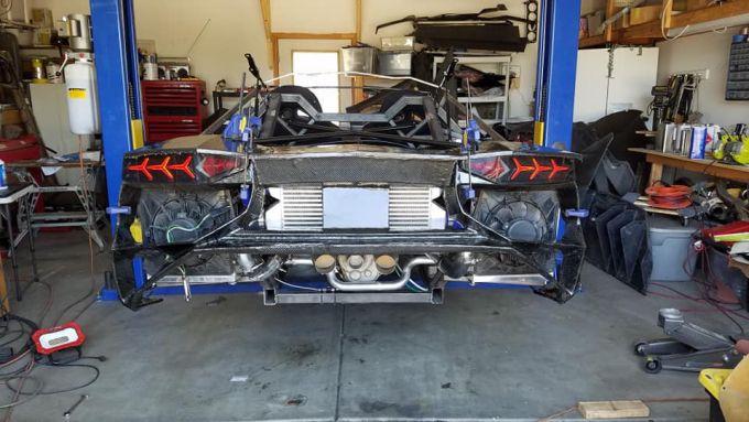La Lamborghini Aventador stampata in 3D: particolare del posteriore