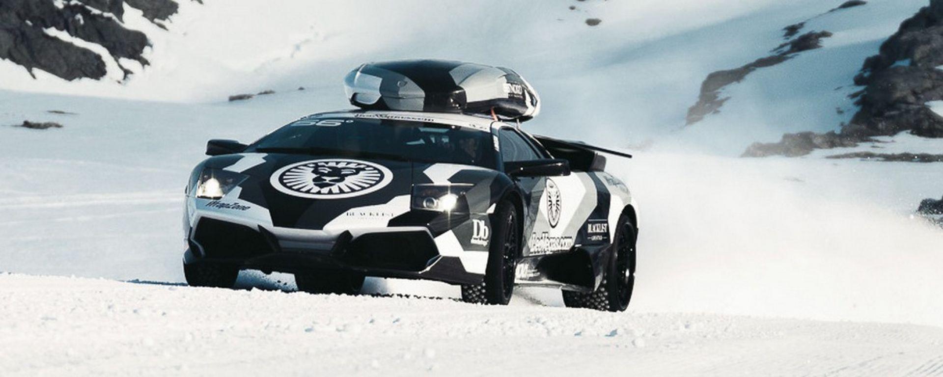 La Lamborghini Murcielago e il ghiacciaio