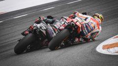 La lotta tra Fabio Quartararo (Yamaha) e Marc Marquez (Honda) nel 2019 a Valencia