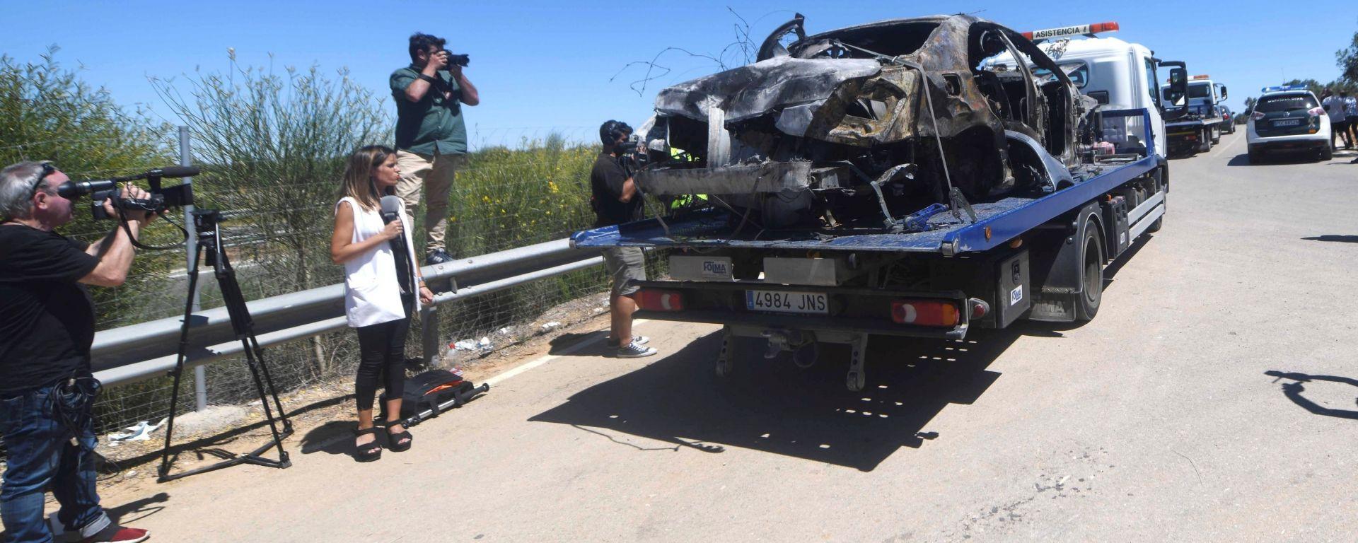 La Mercedes Brabus S550 del calciatore José Antonio Reyes dopo l'incidente