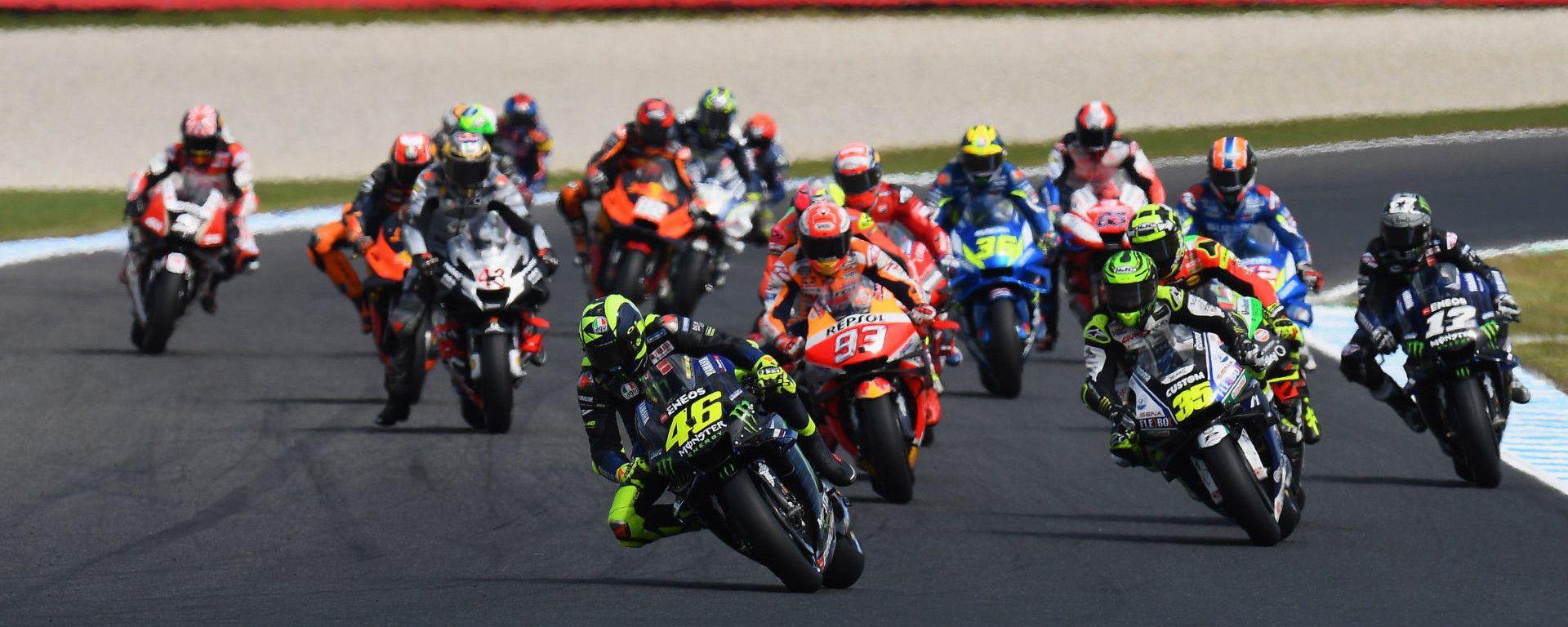 La partenza del GP d'Australia MotoGP 2020