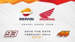 La presentazione del Repsol Honda Team 2021 con Marc Marquez ed Pol Espargaro