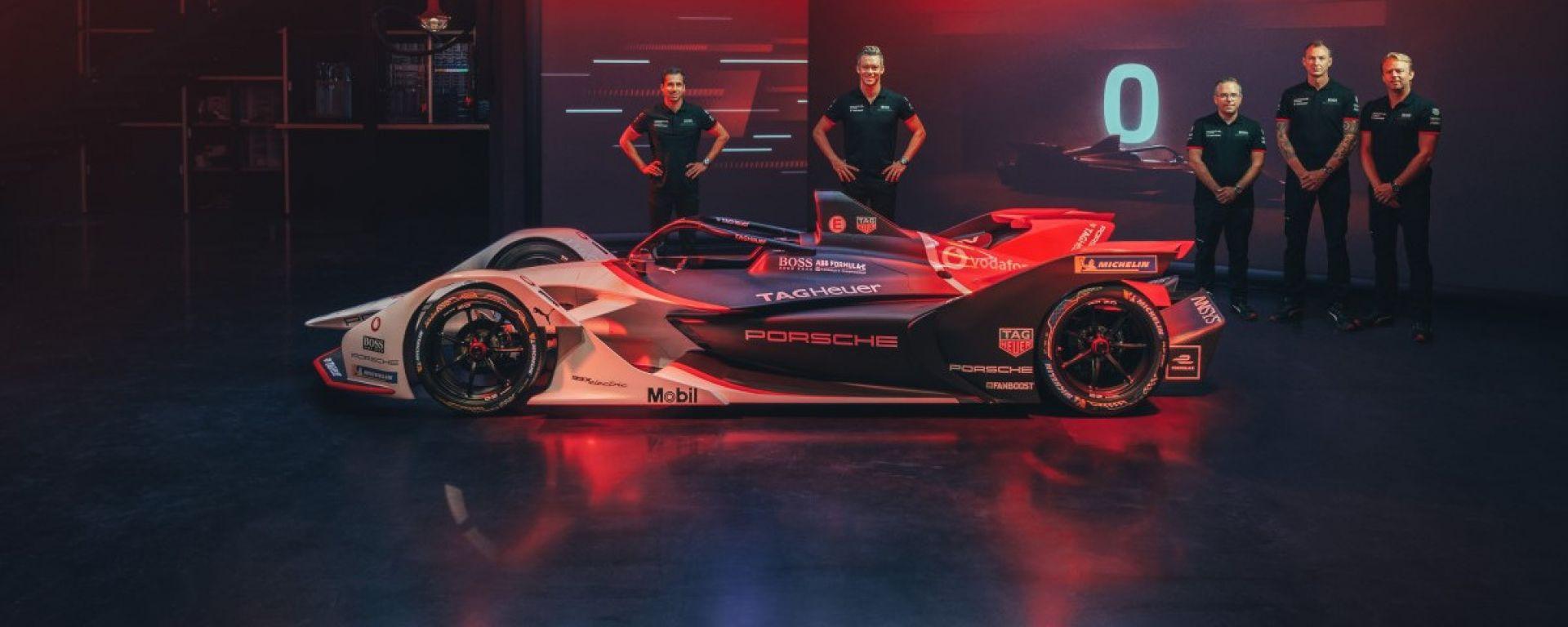 La presentazione della Porsche 99X Electric di Formula E con Neel Jani e André Lotterer