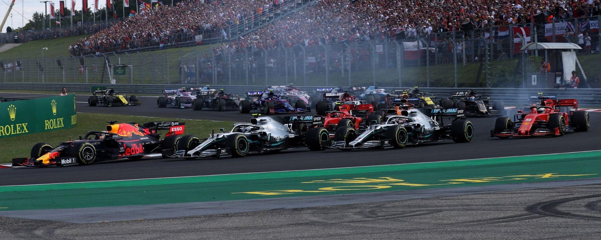 La prima curva del GP Ungheria alla partenza