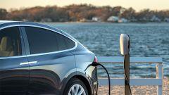 La ricarica di un'auto elettrica (Tesla)