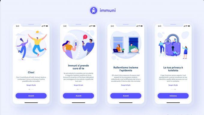 La schermata di benvenuto di Immuni