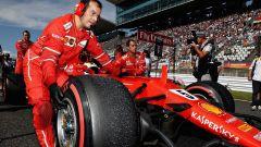 La SF70H di Sebastian Vettel in griglia