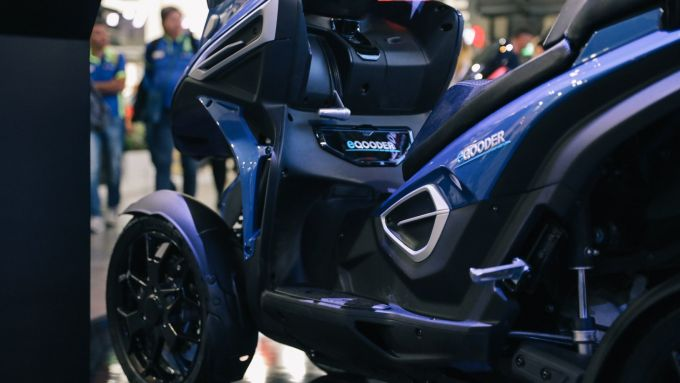 La zona laterale dello scooter elettrico eQooder