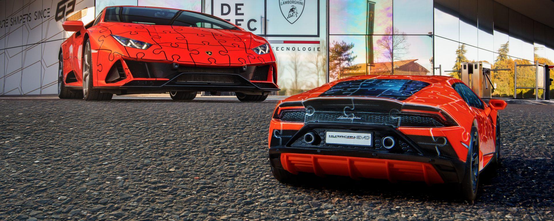 Lamborghini Huracan Evo: quella vera e il posteriore del puzzle 3D