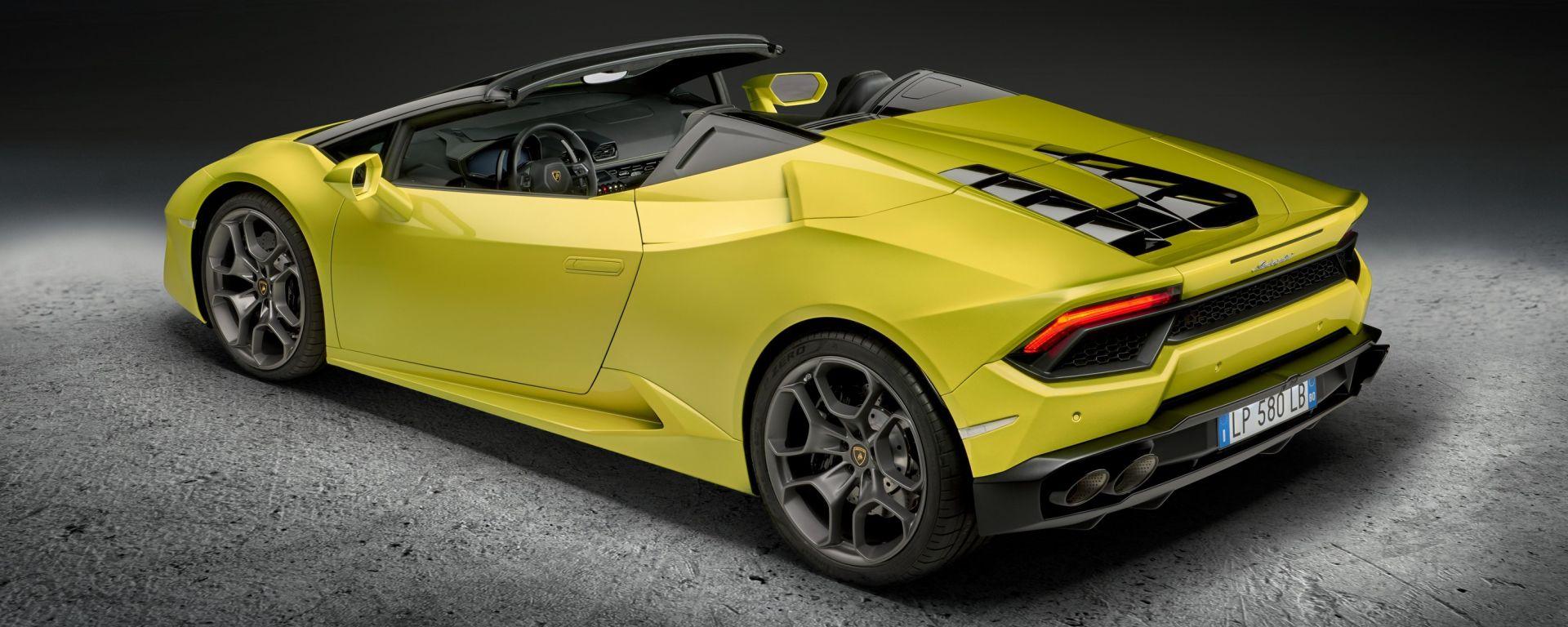 """Lamborghini Huracan Spyder: gli pneumatici Pirelli PZero sono montati su cerchi Kari da 19"""""""
