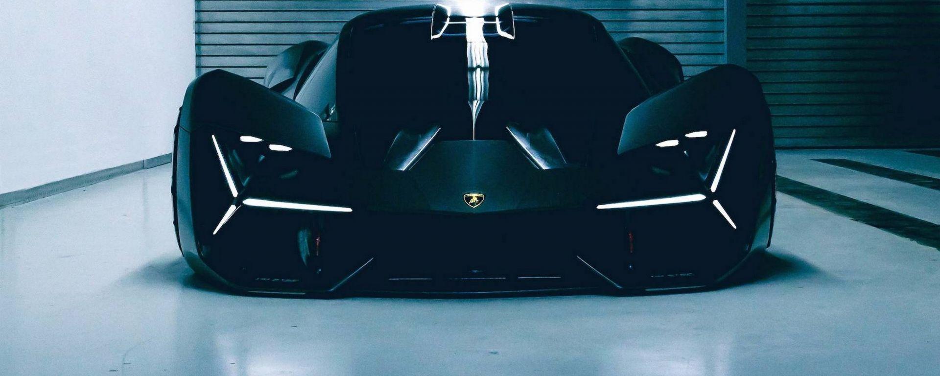 Lamborghini LB48H si ispirerebbe alla concept Terzo Millennio, qui in vista frontale
